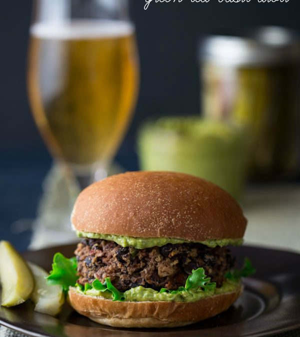 black bean burgers with green tea basil aioli