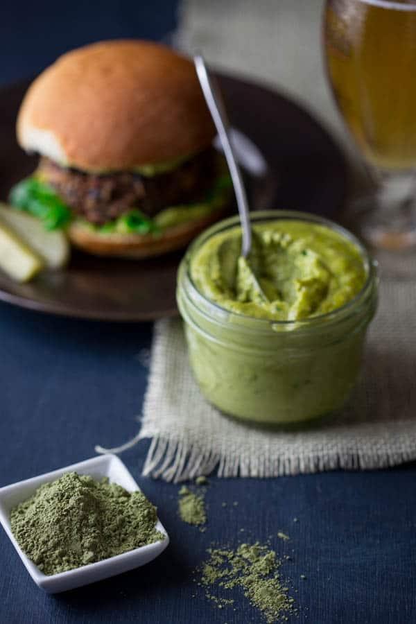 Black Bean Burgers with Green Tea Basil Aioli
