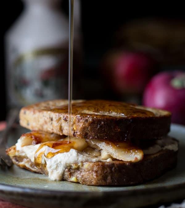 maple caramelized apple stuffed french toast