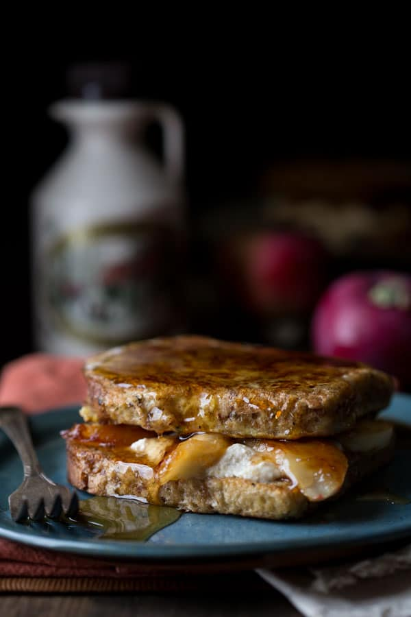 maple caramelized apple stuffed french toast with farmer cheese, an exclusive recipe when you pre-order my cookbook, plus you'll get 12 tips for substituting maple for other sweeteners too! HealthySeasonalRecipes.com @healthyseasonal