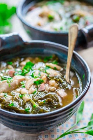 Slow Cooker White Bean Stew with Chicken and Ham {gluten-free and grain free} Healthy Seasonal Recipes