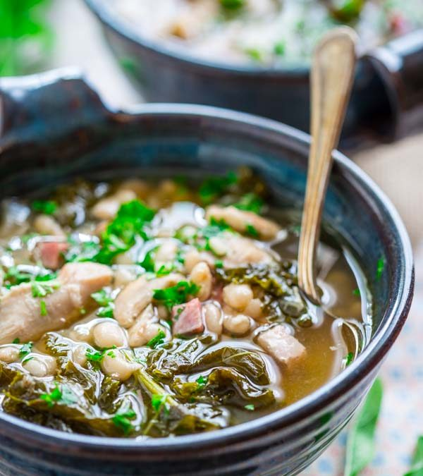 slow cooker white bean stew with chicken and ham