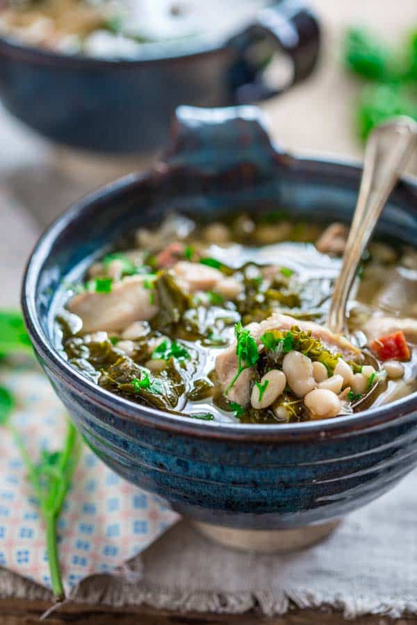 slow cooker white bean stew with chicken and hamHealthy