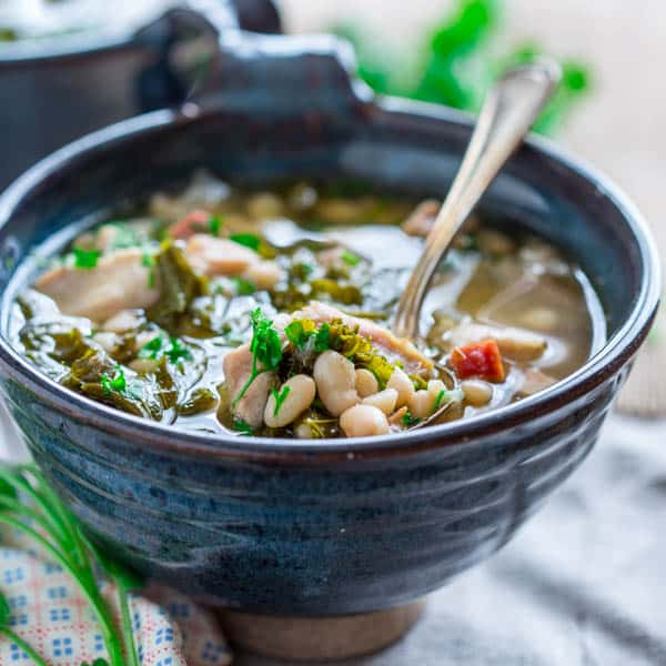 slow cooker white bean stew with chicken and ham - Healthy ...