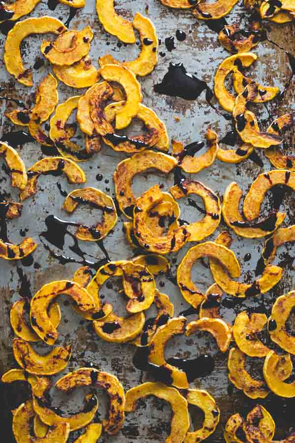 Roasted Delicata Squash with port reduction drizzled on top