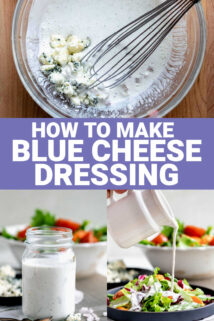 collage of blue cheese dressing photos with text overlay