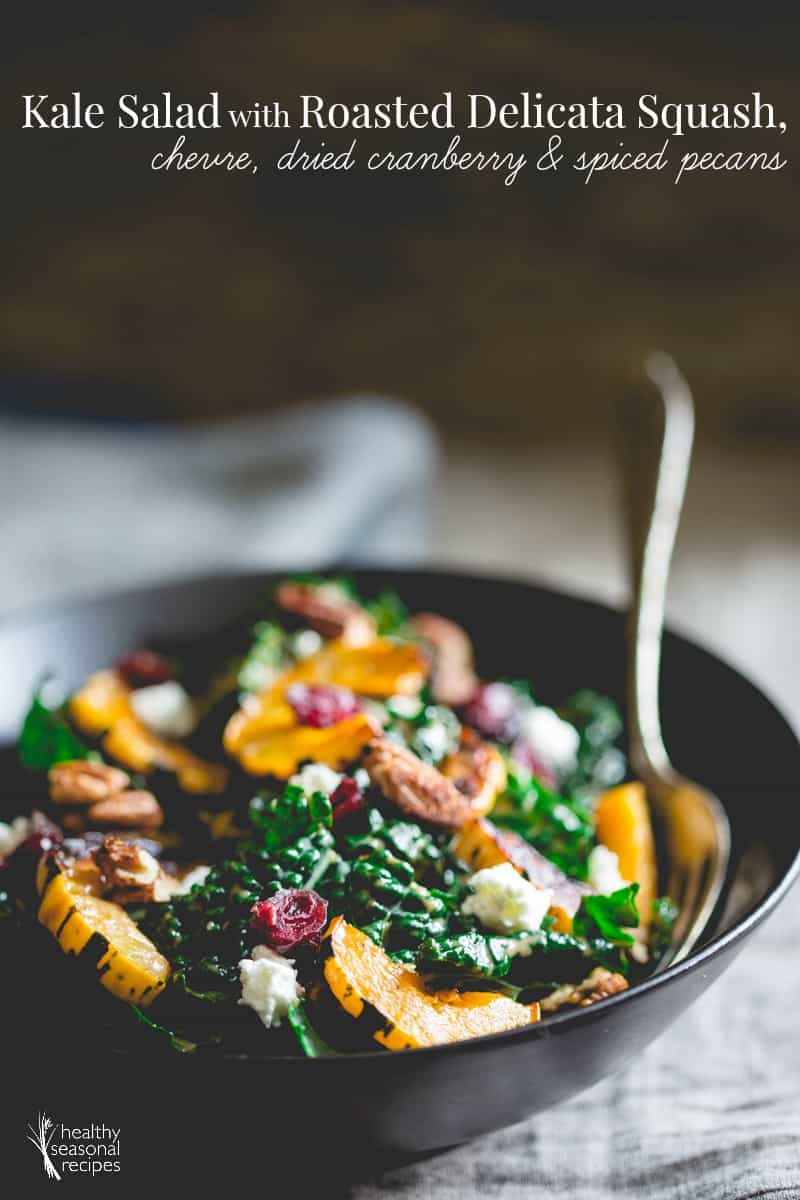 kale salad with roasted delicata squash, chevre, dried cranberries and ...