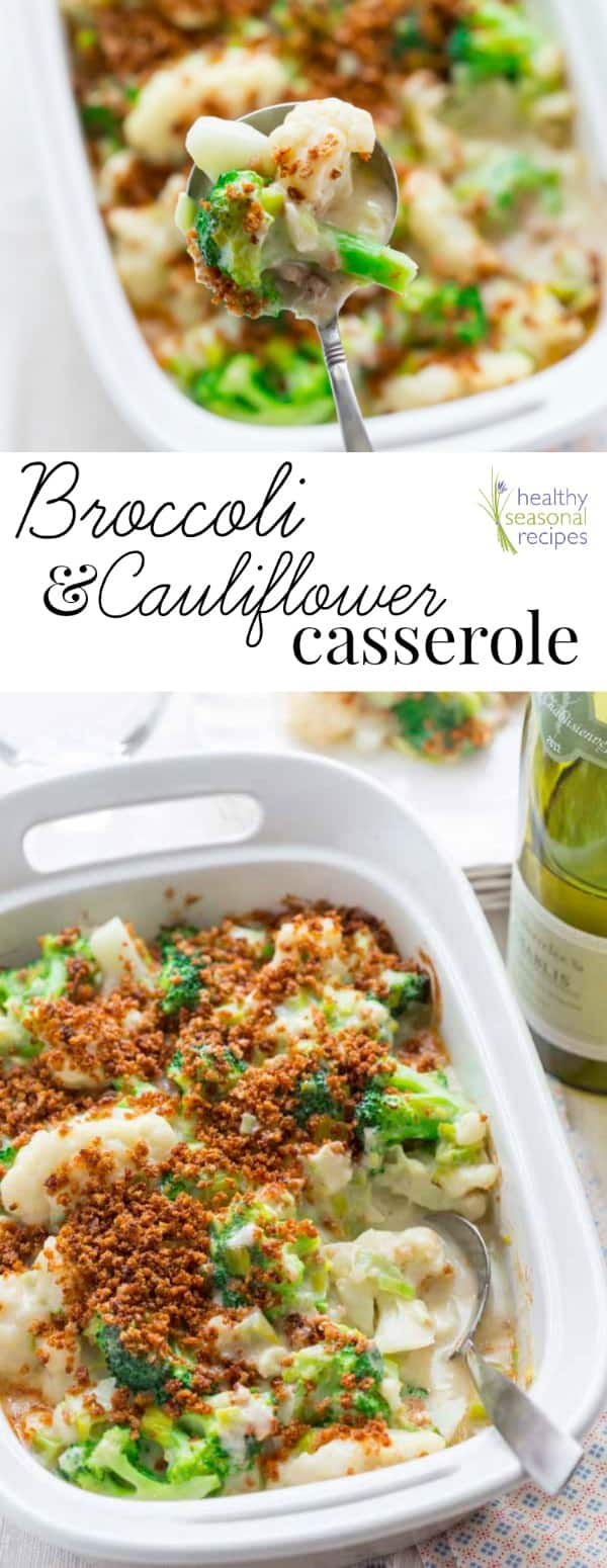 This make-ahead broccoli and cauliflower casserole has a delicious creamy cheddar leek sauce and a crunchy panko breadcrumb topping. Healthy comfort food at its finest! #comfortfood #healthy #broccoli #cauliflower #cheddar #panko #casserole #homecooking #homemade #vegetarian