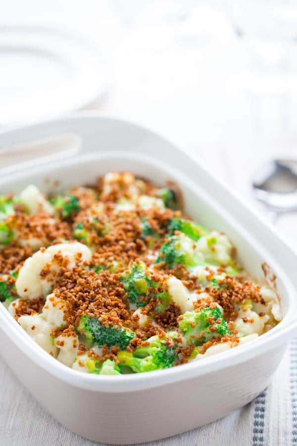 Healthy Make-ahead Broccoli and Cauliflower Casserole with Creamy Cheddar Leek Sauce and Crunchy Panko Breadcrumb topping on HealthySeasonalRecipes.com