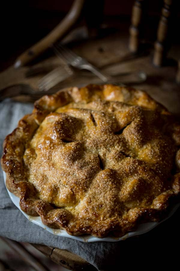 Deep Dish Double Crust Maple Apple Pie from the top