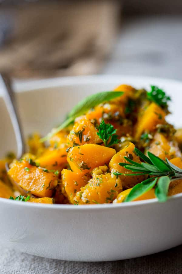 Easy Garlic Herb Butternut Squash | Paleo, gluten-free and vegan | a simple stove-top side dish for Thanksgiving