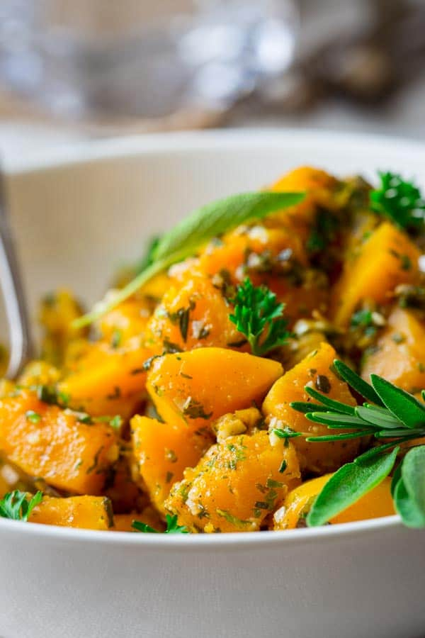 garlic and herb steamed butternut squash