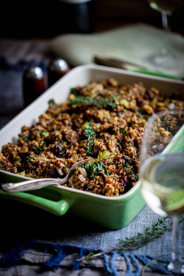 Gluten-free Walnut and Kale Quinoa Stuffing on HealthySeasonalRecipes.com
