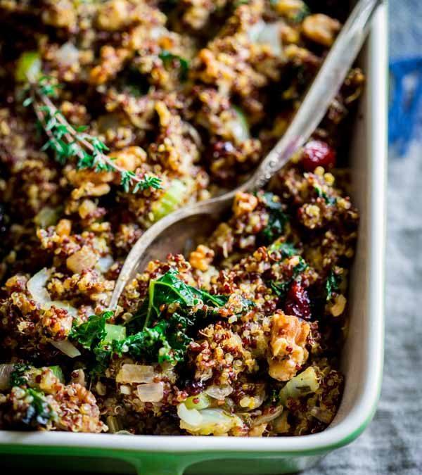 gluten free walnut and kale quinoa stuffing