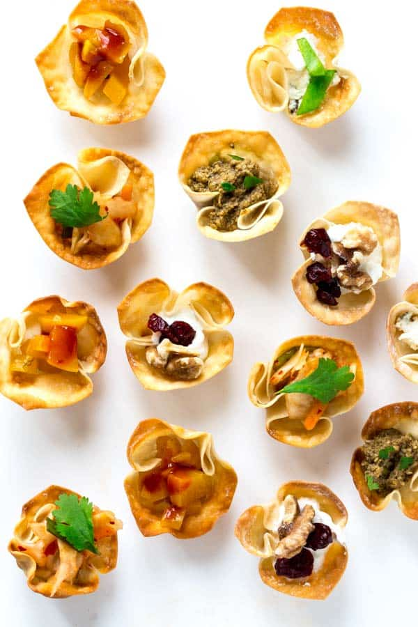 crispy wonton cups with various fillings