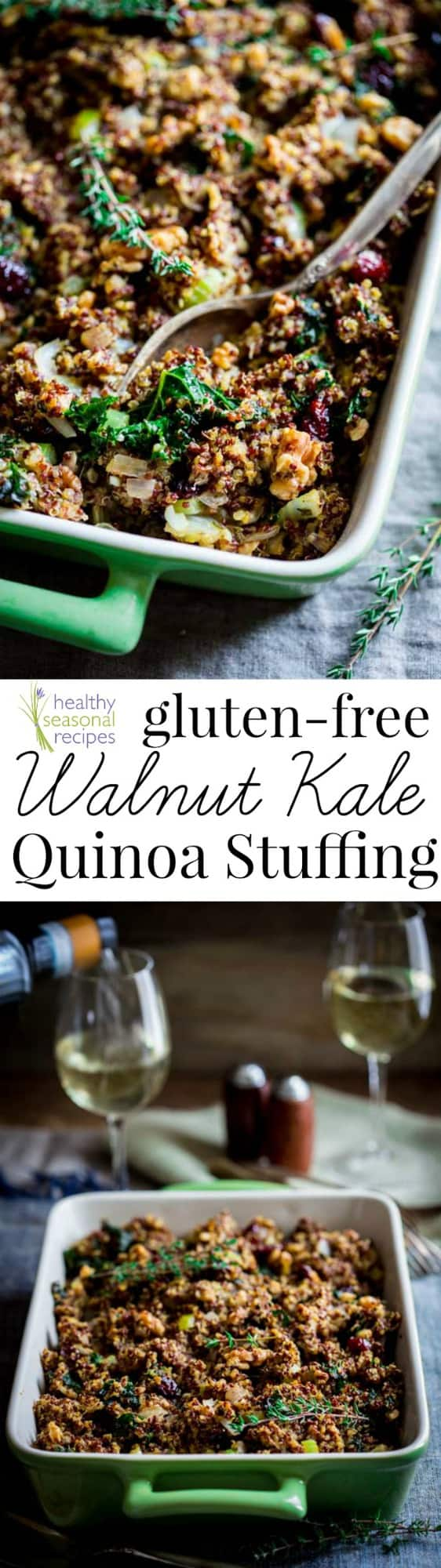 Gluten-free Stuffing with Walnuts, Kale, Quinoa and Dried Cranberries. It\'s a healthy gluten-free way to make Thanksgiving stuffing without bread!  on HealthySeasonalRecipes.com #thanksgiving #stuffing #dressing #glutenfree