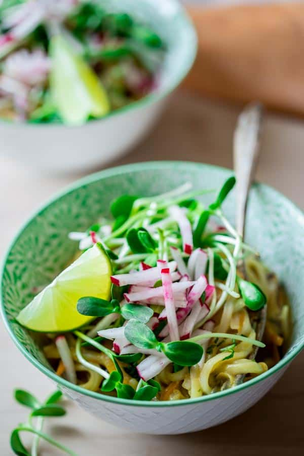These one-pot Coconut Lime Noodle Bowls are ready in under 30 minutes. They are naturally gluten-free and vegan! healthyseasonalrecipes.com