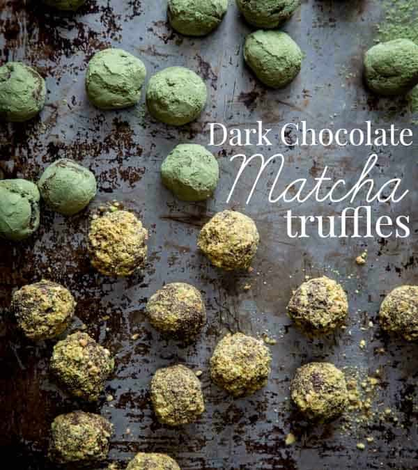matcha dark chocolate truffles