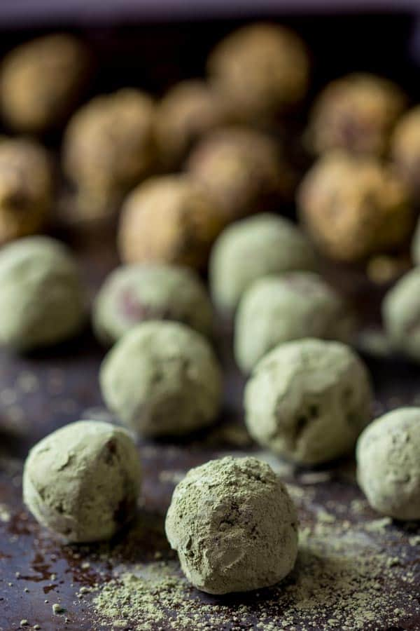 dark chocolate truffles coated in matcha powder