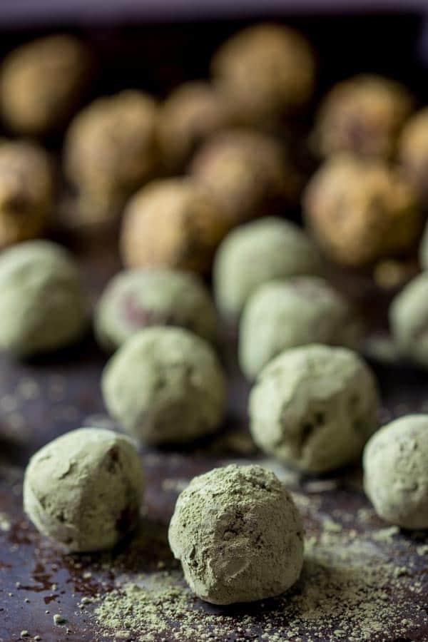 dark chocolate truffles coated in matcha powder