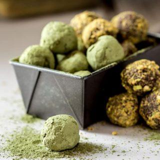 Dark Chocolate Matcha Truffles on HealthySeasonalRecipes.com by Katie Webster