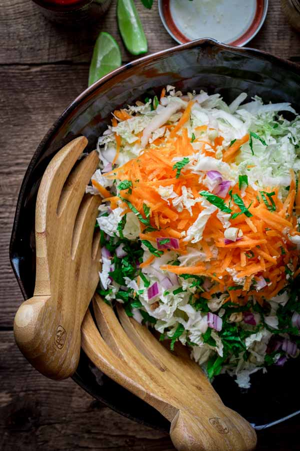 Minty Napa Cabbage Slaw with Chile Garlic Flank Steak on Healthy Seasonal Recipes by Katie Webster