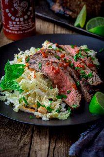 Chili Garlic Steak with Minty Napa Slaw on Healthy Seasonal Recipes by Katie Webster