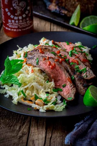 Chili Garlic Steak with Minty Napa Slaw on Healthy Seasonal Recipes by Katie Webster