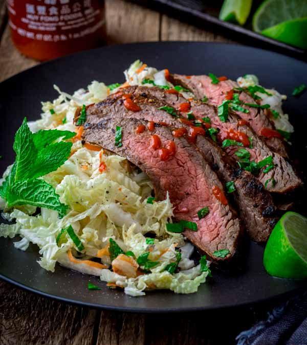 chili garlic steak with minty napa cabbage slaw