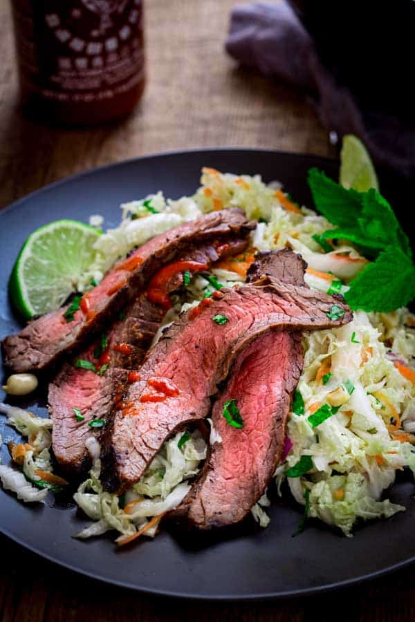 Minty Napa Cabbage Slaw with Chili Garlic Flank Steak on Healthy Seasonal Recipes by Katie Webster