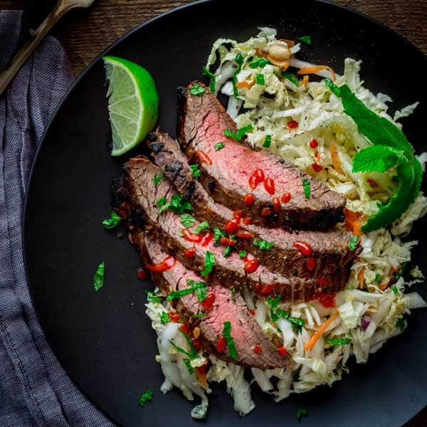 Chili Garlic Steak with Minty Napa Slaw by Katie Webster on Healthy Seasonal Recipes