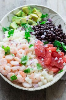 Mexican Jicama Shrimp Salad | Lunch | Vegetables | Grapefruit | Winter | Salad Dressing | Healthy Seasonal Recipes
