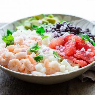 Mexican Jicama Shrimp Salad | Lunch | Vegetables | Grapefruit | Winter | Salad Dressing | Healthy Seasonal Recipes