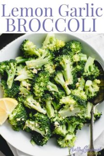 Overhead closeup of broccoli with text overlay