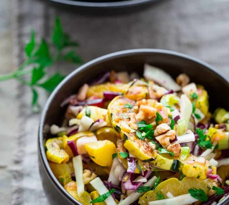roasted delicata squash salad with warm pickled onion dressing