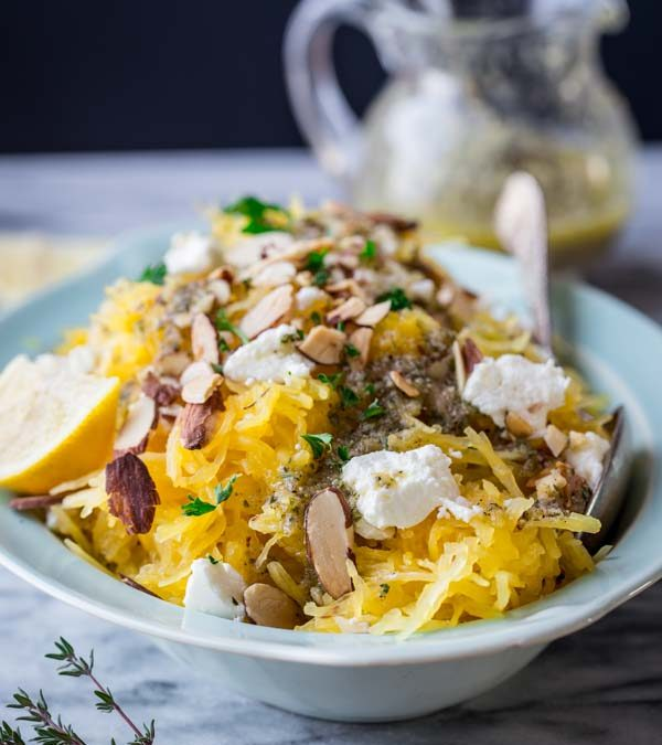 spaghetti squash with chèvre and lemon thyme dressing
