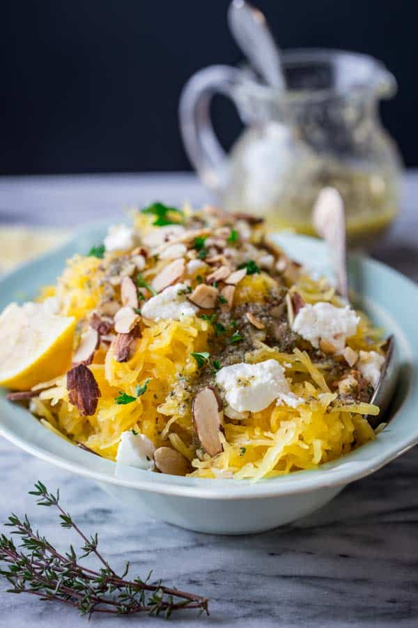 Spaghetti Squash with Almonds, Chevre and Lemon Thyme Dressing by Katie Webster on healthyseasonalrecipes.com