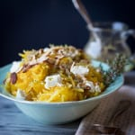 Spaghetti Squash with Chèvre and Lemon Thyme Dressing #vegetarian #lowcarb and #glutenfree on HealthySeasonalRecipes.com by Katie Webster