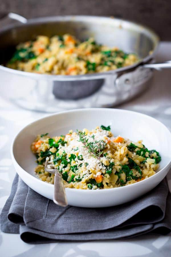 Brown Rice Kale Risotto with Cheddar on Healthy Seasonal Recipes by Katie Webster