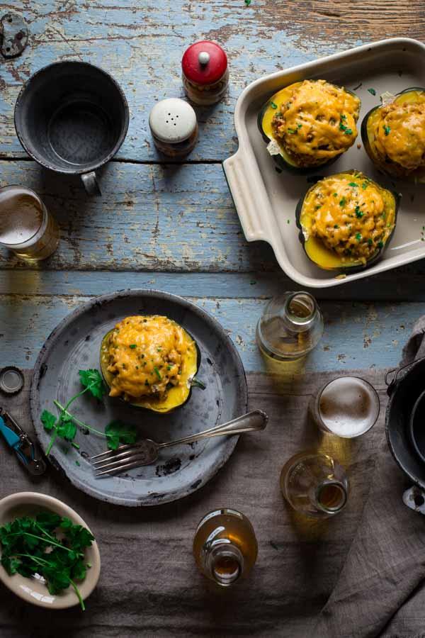 Cheesy Mexican Quinoa Stuffed Acorn Squash