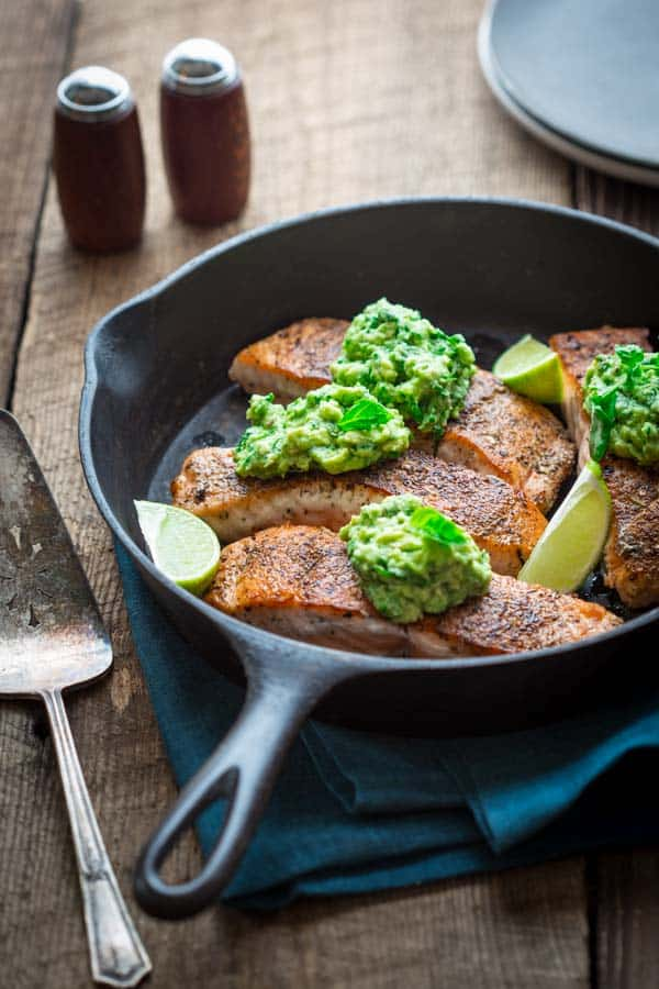 easy salmon with avocado and basil, naturally gluten-free, paleo and low-carb on healthyseasonalrecipes.com
