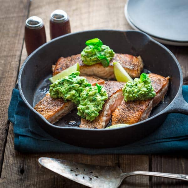 easy salmon with avocado and basil