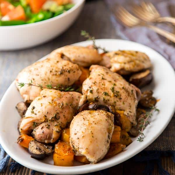 one pan chicken with squash and mushrooms