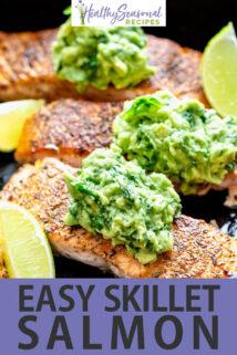 close up salmon with avocado basil and lemon