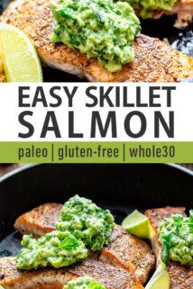 skillet salmon collage text overlay