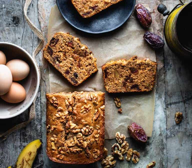 healthy banana bread with dates and walnuts