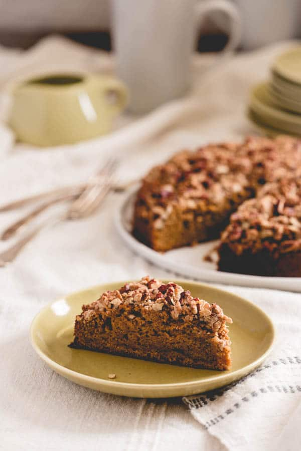 Maple Sweet Potato Coffee Cake slice on a plate