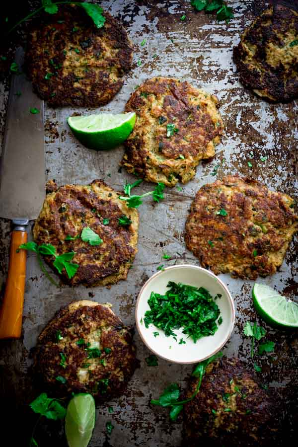 Mexican Cauliflower Patties on a metal tray