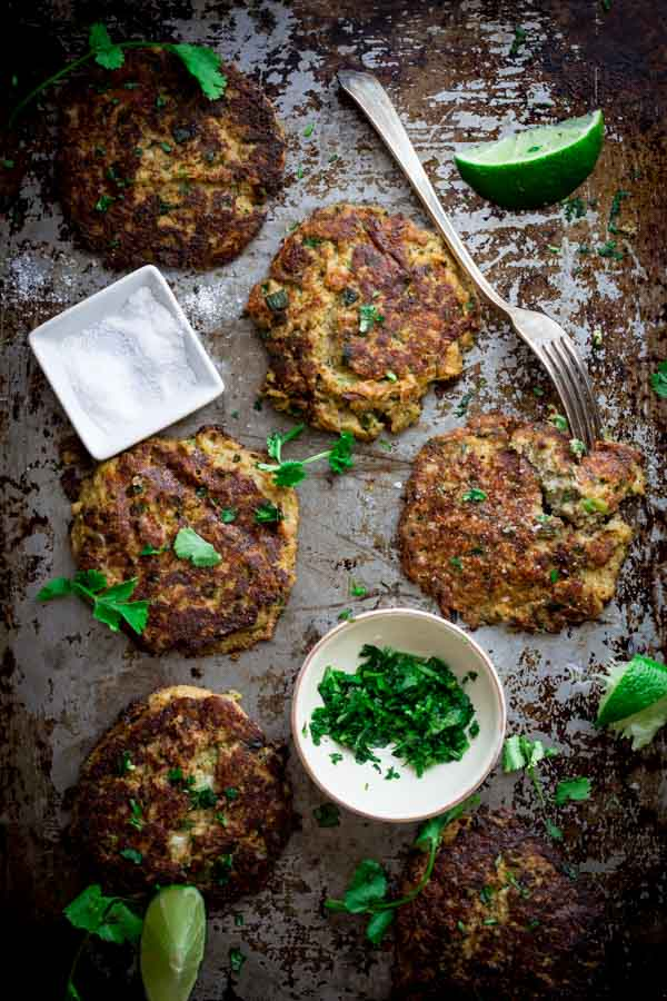 Mexican Cauliflower Patties on a baking tray