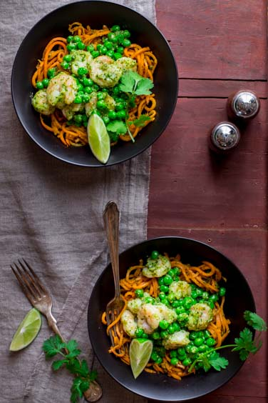 Sweet Potato Noodles with Shrimp with Cilantro Pesto
